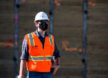 Farallon employee wearing construction gear