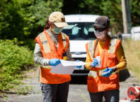 Two female Farallon employees conducting an environmental evaluation