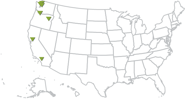 Map of US with farallon offices marked